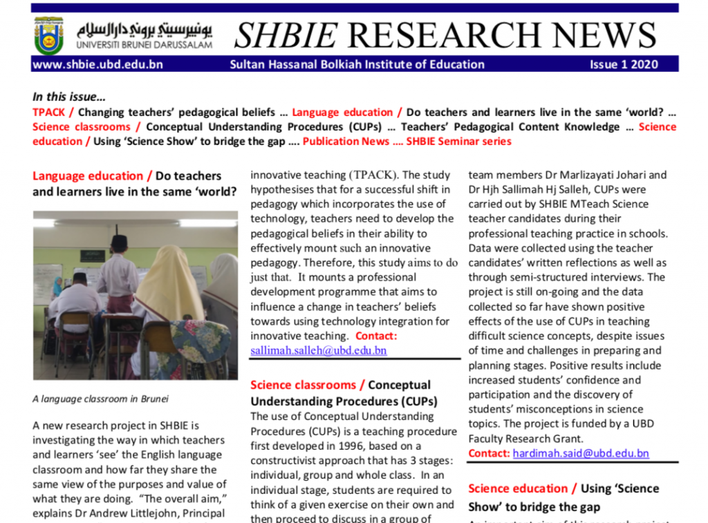 SHBIE Research Newsletter Issue 1